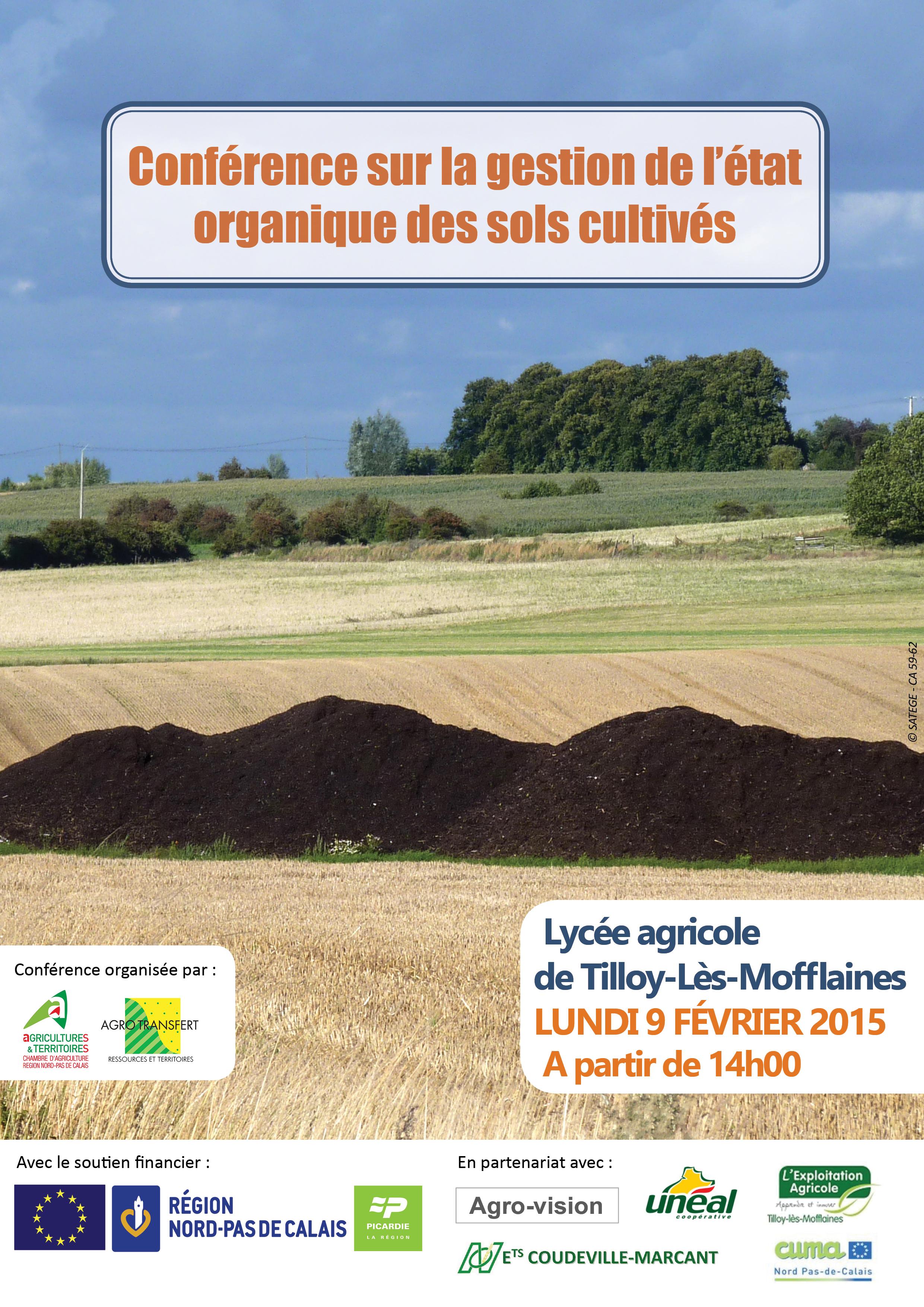 invitation conférence gestion état organique des sols cultivés 9 fev 2015