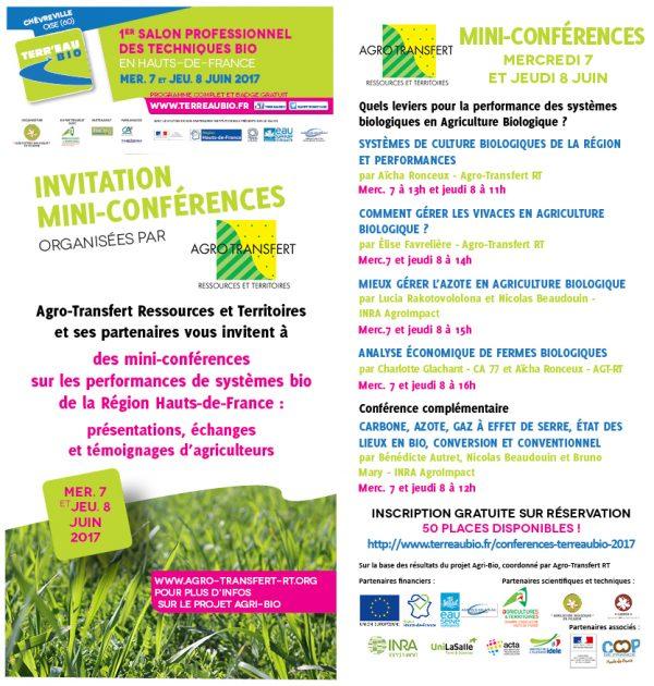 Mini-conférences Agri-Bio au salon Terr'Eau Bio 7-8 juin 17