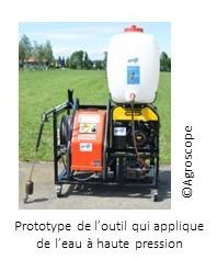 Prototype de l'outil qui applique de l'eau à haute pression