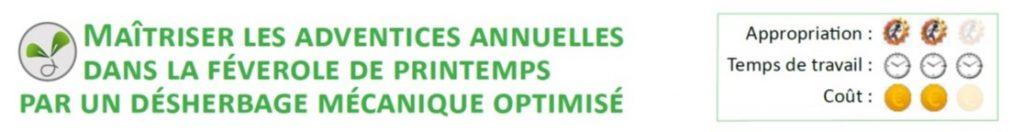 Maitriser les adventices annuelles dans la féverole de printemps par un désherbage mecanique optimise